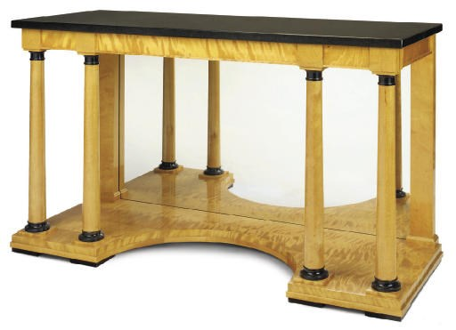 A SATIN BIRCH AND EBONISED CON