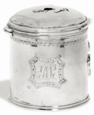 A GEORGE III SILVER BOUGIE BOX