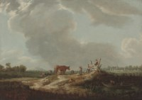 Children playing by a River, a milkmaid with cattle beyond