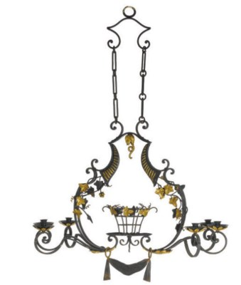 A FRENCH GILT AND BLACK LACQUE