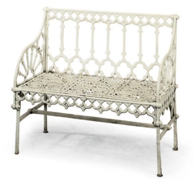 A FRENCH CAST-IRON SEAT