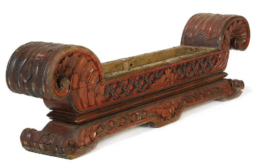AN INDIAN PAINTED CARVED HARDW