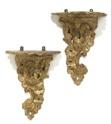 A PAIR OF GILTWOOD AND GESSO W