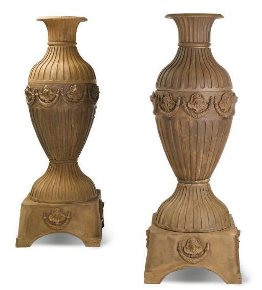 A PAIR OF SECTIONAL CAST-IRON
