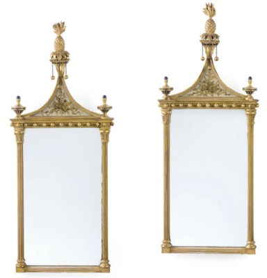A PAIR OF GILTWOOD MIRRORS