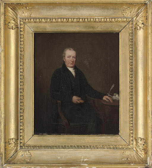 Portrait of a gentleman, traditionally identified as Mr John Moncrieff, seated three-quarter-length, at a writing desk