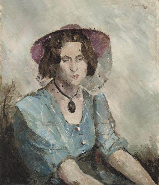 Portrait of a lady, seated half-length, in a blue dress with a pink hat