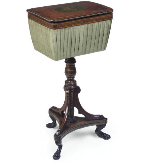 A MAHOGANY AND BRASS INLAID WO