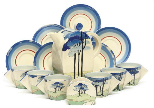 A CLARICE CLIFF 'BLUE FIRS' PA