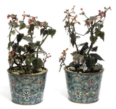 A Pair of Chinese hardstone tr