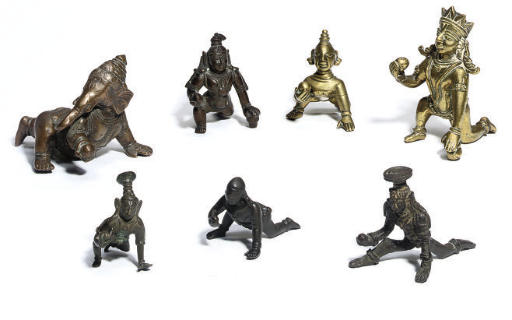 Six Indian brass and bronze mo