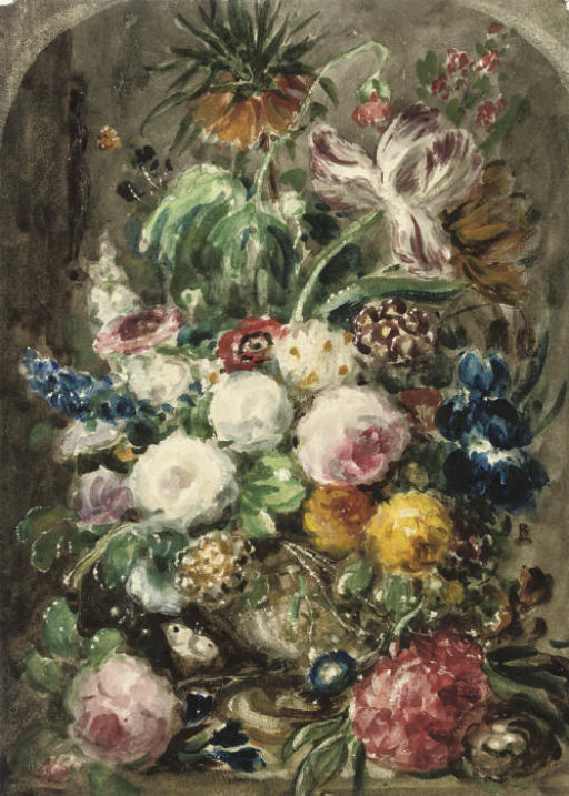 Still life of mixed flowers in an urn