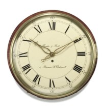 A George III mahogany eight day wooden dial wall clock