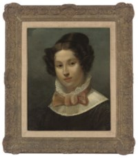 Portrait of a young lady, bust-length, in a brown dress with a lace collar and pink bow