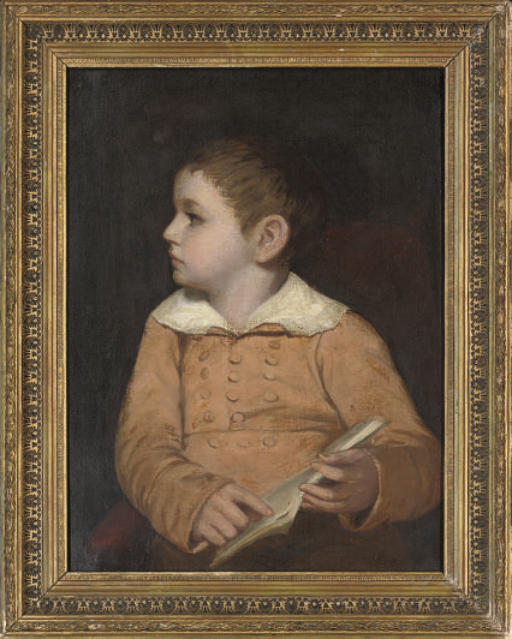 Portrait of a young boy, traditionally identified as George Moore of Trieste, in a brown smock, holding a book