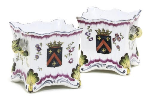 A PAIR OF FRENCH POTTERY ARMOR