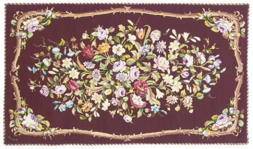 A FINE NEEDLEPOINT RUG DATED 1