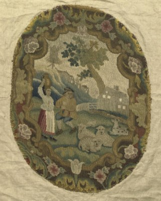 AN 18TH CENTURY EMBROIDERED PA