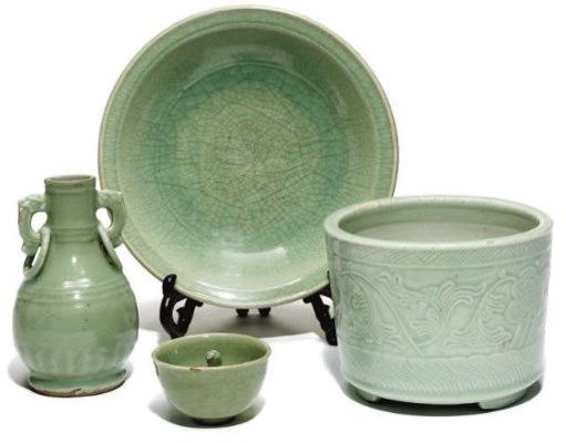 Four Chinese celadon wares