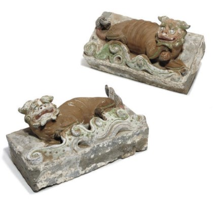 A pair of Chinese painted ston