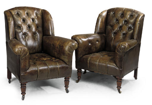 A PAIR OF VICTORIAN LEATHER UP