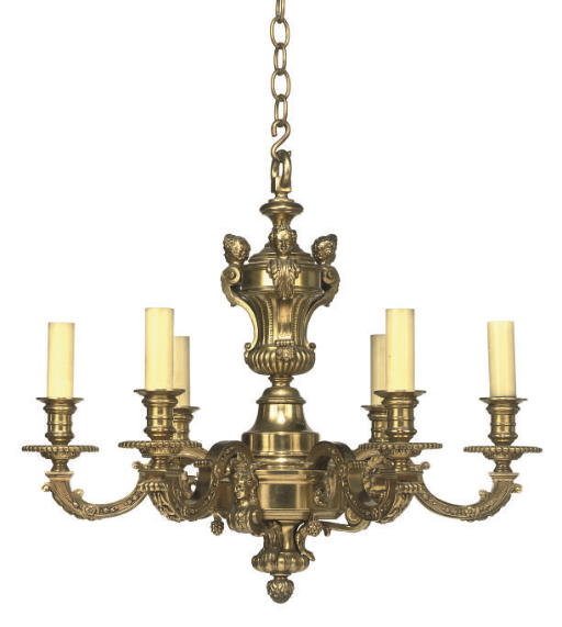 A GILT-BRONZE SIX LIGHT CHANDE