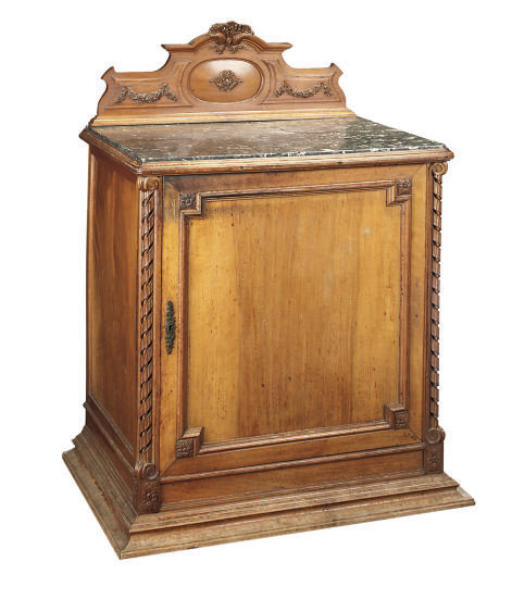 A FRENCH BEECH SIDE CABINET