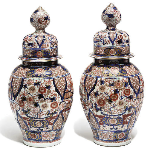A Pair Of Japanese Vases And Covers Imari Meiji Period 1868 1912