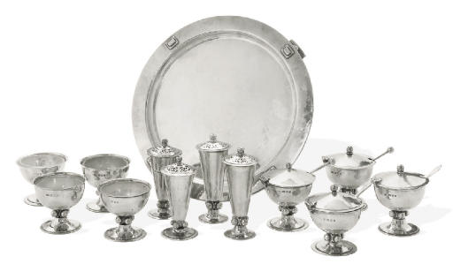 A SILVER ARTS & CRAFTS CONDIMENT SET AND SALVER