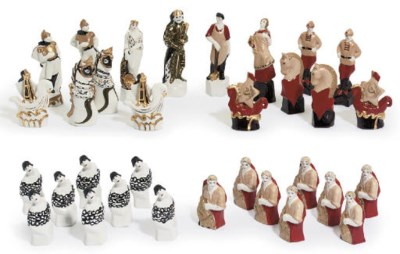 A SOVIET PORCELAIN CHESS SET '