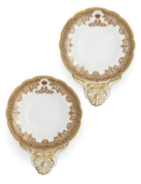 A PAIR OF RUSSIAN PORCELAIN CAVIAR DISHES FROM THE ALEXANDER