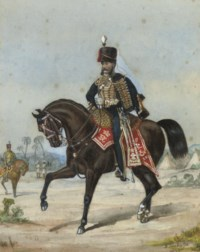 Portrait of an officer of the 3rd Hussars; and Portrait of an officer of the 10th Royal Hussars in India (one illustrated)