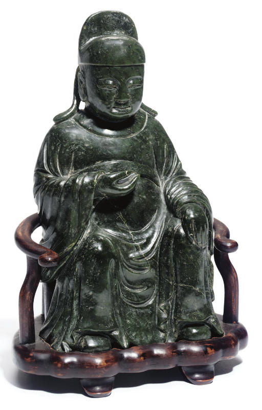 A large spinach jade model of