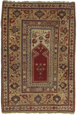 An antique Melas prayer rug