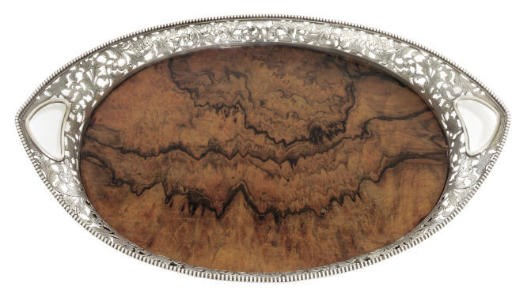 A CONTINENTAL SILVER TRAY WITH
