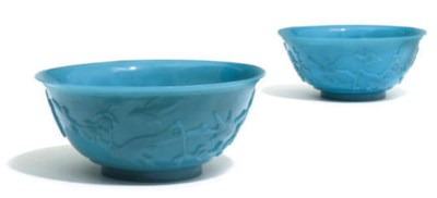 A pair of Chinese opaque blue