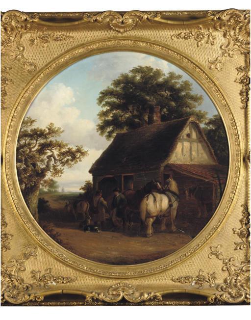 Farm horses at an inn door