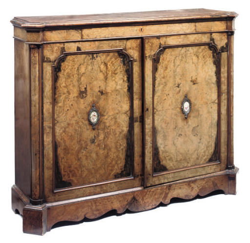 AN EARLY VICTORIAN FIGURED WALNUT AND INLAID SIDE CABINET