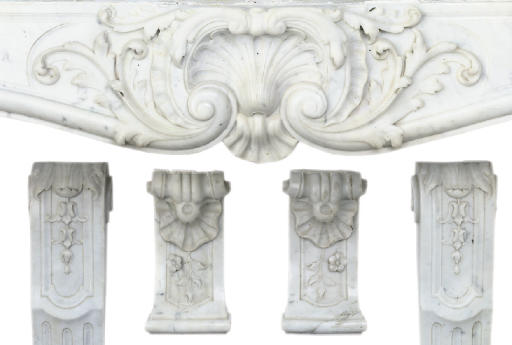 A CARVED WHITE MARBLE CHIMNEYP
