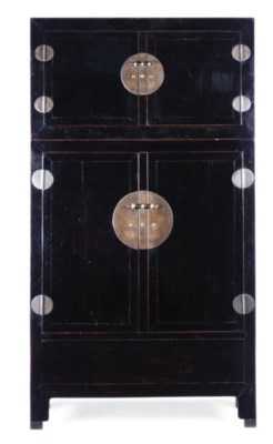 A CHINESE BLACK LACQUER TALL C