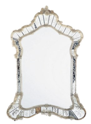 A VENETIAN ETCHED MIRROR