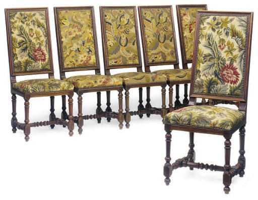 A SET OF SIX FRENCH BEECH WOOD