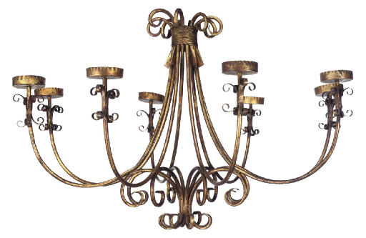 A PAIR OF GILT-METAL EIGHT-LIGHT CHANDELIERS