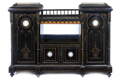 A LATE VICTORIAN EBONISED AND