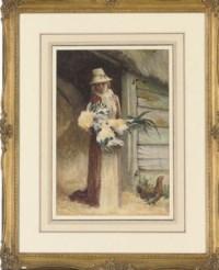 A woman holding a cockerel