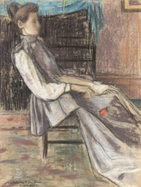 A woman seated in an interior, a red rose in her right hand