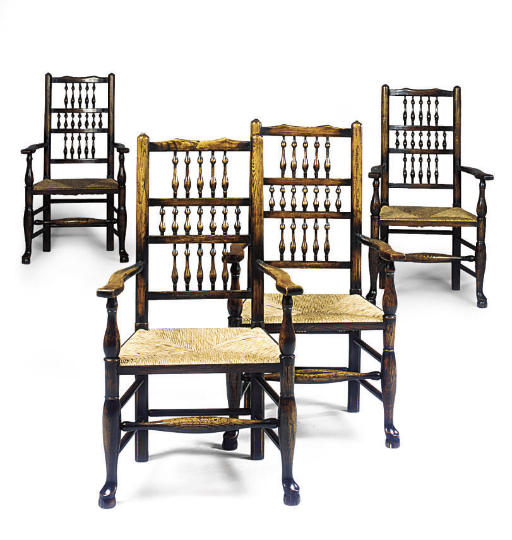 A SET OF TEN ELM OPEN ARMCHAIR
