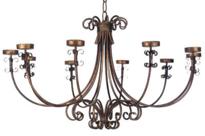 A LARGE GILT-METAL TEN-LIGHT C