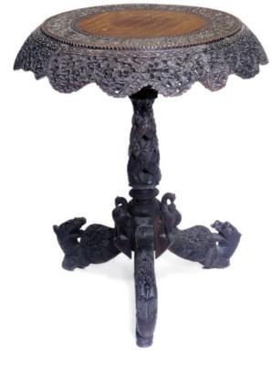 AN INDIAN HARDWOOD TRIPOD TABL