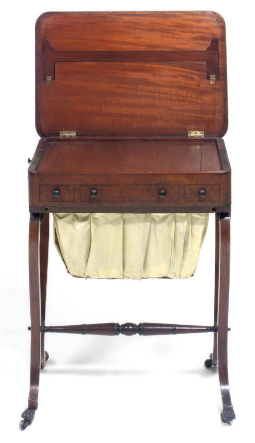 A REGENCY MAHOGANY AND LINE INLAID WORK TABLE